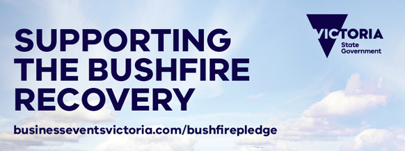 Text overlay says 'Supporting the bushfire recovery - website link businesseventsvictoria.com/bushfirepledge'