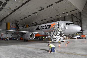 Jetstar plane in the hangar