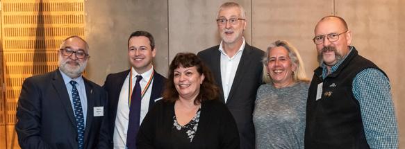 Andrew Jackomos, Simon Phemister, Karen Milward (Kinaway Chamber of Commerce), Minister Gavin Jennings, Janine Coombs (Aboriginal Treaty Working Group Member, Mick Harding (Ngarga Warendji)