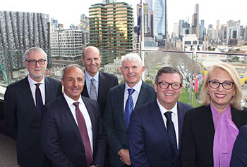 The Hon Gavin Jennings, Minister for Priority Precincts; Mr Vince Giuliano, Owner PDG; Mr Paul Perreault, CEO and Managing Director CSL Limited; Mr Brian McNamee AO, Chairman CSL Limited; The Hon Frank McGuire, MLA, Parliamentary Secretary for Medical Research; Sally Capp, Lord Mayor of Melbourne.