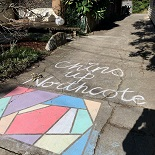 Image of chalk drawing on a footpath with postive message