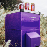 Purple hive with honey products