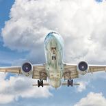 Jumbo jet flying in the air