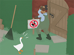 A screenshot from Untitled Goose Game.