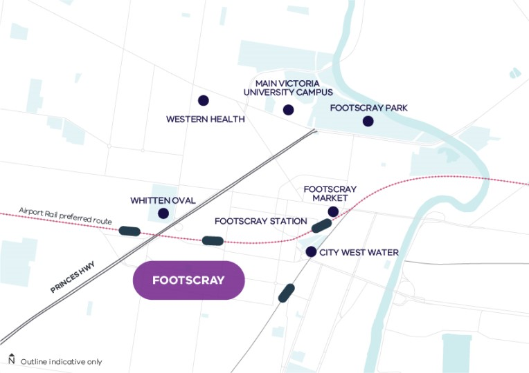 A basic map of Footscray area centered by the Footscray Station with a proposed Airport rail running through